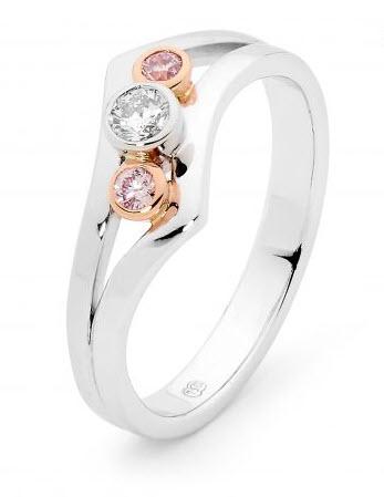 Pink Diamond Broome and White Diamond Ring