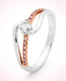 Pink Diamond Broome Ring with White Diamonds